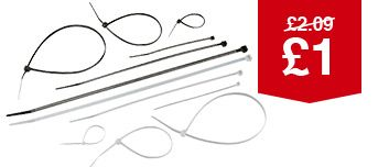 Mixed Cable Ties - Black/White Pack Of 50