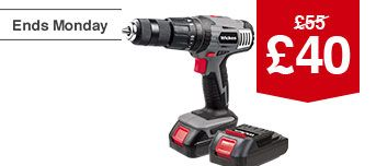 Wickes 18V Combi Drill - x2 Batteries