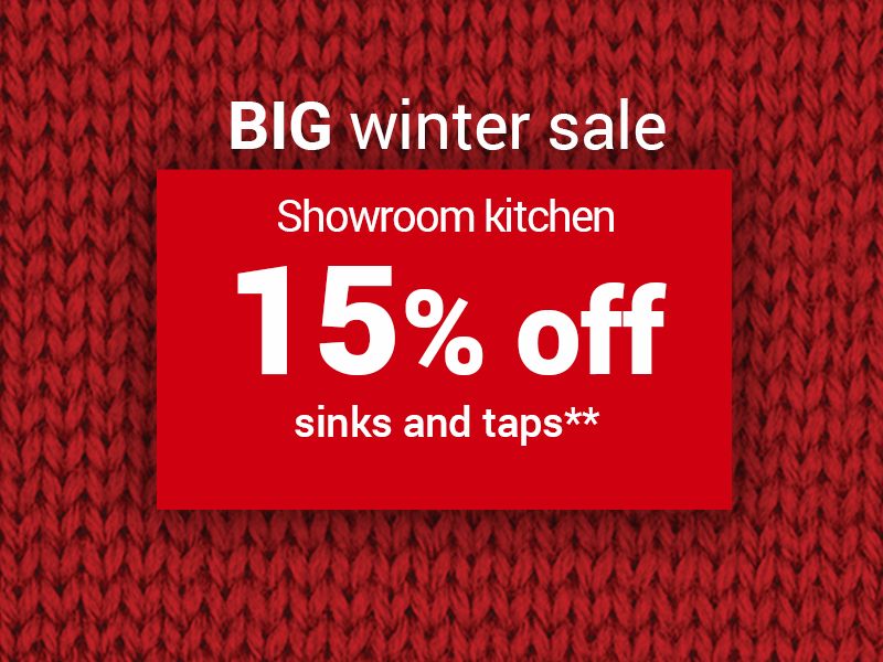 15% off sinks & taps