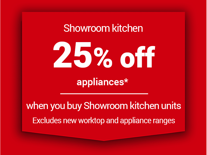 25% off appliances when you buy a showroom kitchen