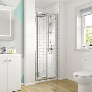 Wickes 800mm - Square Bi-Fold Semi Frameless Recess Cubicle Shower Door - Chrome
