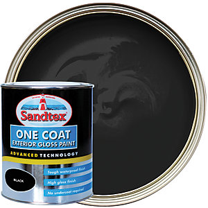Sandtex One Coat Exterior Gloss Paint - Black 750ml