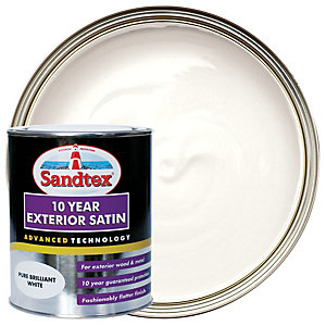 Sandtex 10 Year Exterior Satin Paint - Pure Brilliant White 750ml