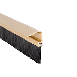 Image of Wickes Concealed Fixing Door Brush Draught Excluder Gold Effect - 838mm