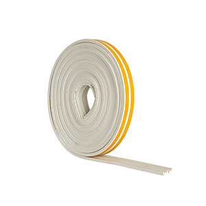 Wickes E Profile Rubber Draught Seal White - 10m