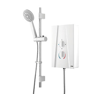 Wickes Hydro Plus Electric Shower & Adjustable Riser Kit - White 7.5kW