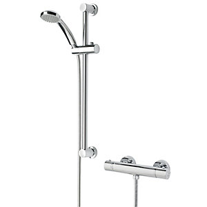 Image of Bristan Frenzy Thermostatic Bar Mixer Shower Valve & Adjustable Riser Kit - Chrome