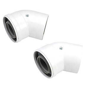 Image of Worcester Bosch 45 Degree 60/100mm Boiler Flue Bend - Pack of 2