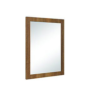 Image of Wickes Frontera Rectangular Walnut Effect Framed Bathroom Mirror - 490mm