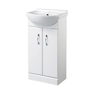 Wickes White Gloss Vanity Unit with Ceramic Basin - 455 mm