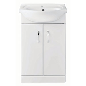 reputable site 987a2 506f2 Wickes White Gloss Vanity Unit with Ceramic Basin - 560 mm