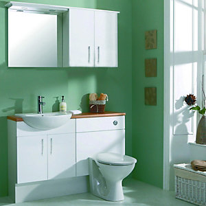Wickes Seville White Gloss Fitted Vanity Unit - 600mm