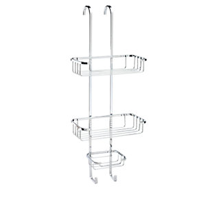 Croydex Rust Free Hook Over Three Tier Shower Basket - Chrome 250mm