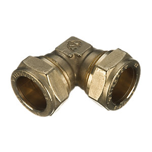 Wickes Brass Compression Elbow - 22mm Pack of 10