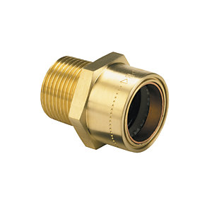 Wickes Copper Pushfit Straight Male Connector - 1/2in x 15mm