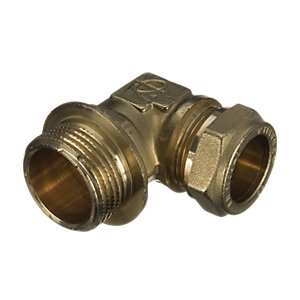 Wickes Brass Compression Male Iron Elbow - 15mm
