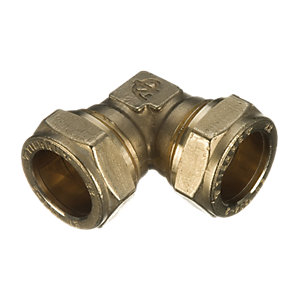 Wickes Brass Compression Elbow - 15mm Pack of 2