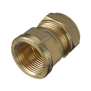 Wickes Brass Compression Female Adapter - 15 x 19mm