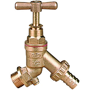 Image of Wickes Brass Garden Tap With Double Check Valve - 12mm