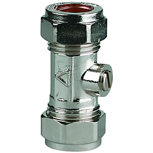 Wickes Chrome Plated Isolating Valve - 15mm