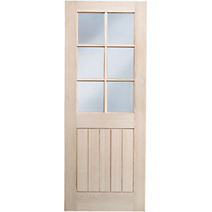 Wickes Geneva Glazed Oak Cottage Internal Door - 1981mm