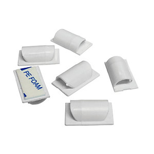 Image of D-Line Self-Adhesive Cable Tidy Clips - White Pack of 6