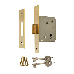 Image of ERA 3 Lever Door Deadlock - Brass 64mm
