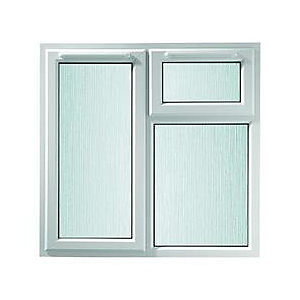 Wickes White uPVC Casement Window - Left Side Hung & Top Hung Obscure Glass 1190 x 1010mm