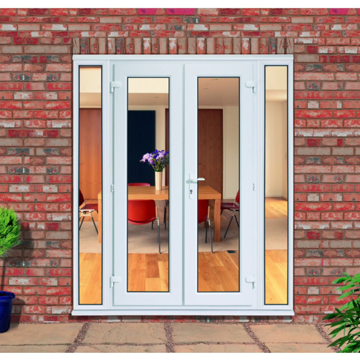 UPVC French Doors Outwards Opening With 2 Demi Panels 300mm | Wickes.co.uk
