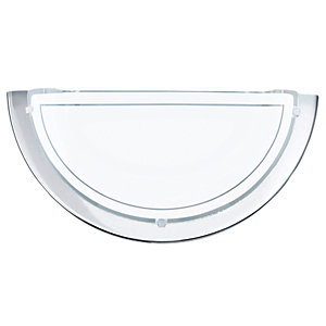 Image of Eglo Planet 1 Chrome & Satinated Glass Half Wall & Ceiling Light - 60W E27