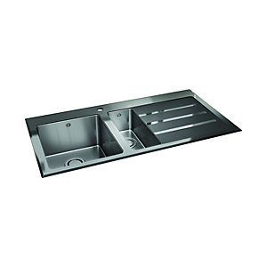 Image of Wickes Rae 1.5 Bowl Right Hand Drainer Kitchen Sink with Black Glass - Stainless Steel