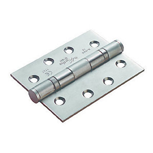 Image of 4FireDoors Ball Bearing Hinge - Satin Steel 102 x 76 x 3mm Pack of 3