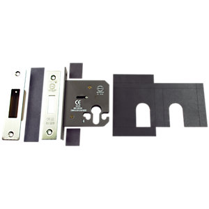 Image of 4FireDoors FD204 Deadlock Euro Profile with Plates - Stainless Steel 76mm