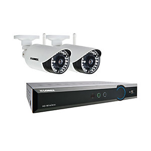 Image of Lorex LH04141TC2WP HD 4 Input with 2 Bullet Cameras 1TB Recorder Wireless CCTV Kit