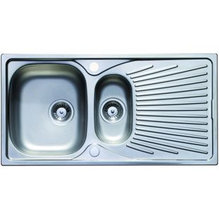 Wickes Luxe 1.5 Bowl Kitchen Stainless Steel Sink & Drainer ...
