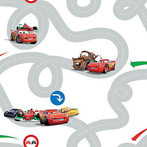 Cars Racetrack Decorative Wallpaper Multi - 10m