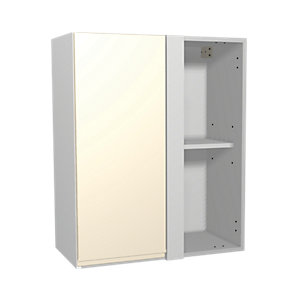 Wickes Madison Cream Gloss Handleless Corner Wall Unit - 600mm