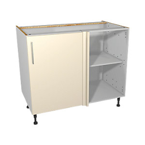 Wickes Orlando Cream Gloss Slab Corner Base Unit - 1000mm