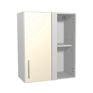 Wickes Orlando Cream Gloss Slab Corner Wall Unit - 600mm