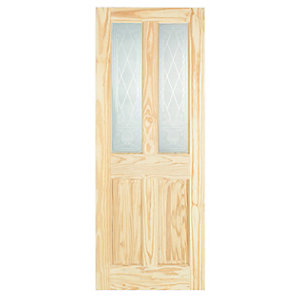 Wickes Skipton Glazed Clear Pine 4 Panel Internal Door