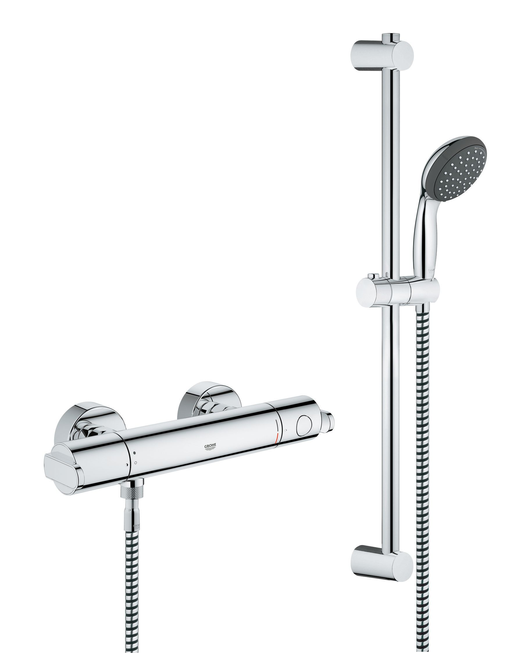 Grohe Get Thermostatic Bar Mixer Shower System   Chrome | Wickes.co.uk