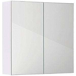 Wickes Talana White Gloss Wall- Hung Mirror Storage Unit - 600mm