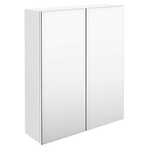 Wickes Talana White Gloss Wall- Hung Mirror Storage Unit - 400mm
