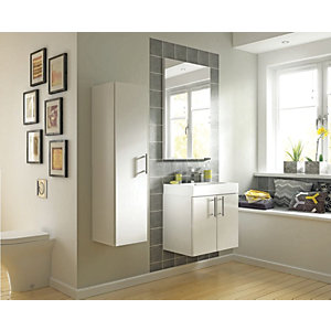 Wickes Talana White Gloss Wall- Hung Vanity Unit with Doors - 600mm