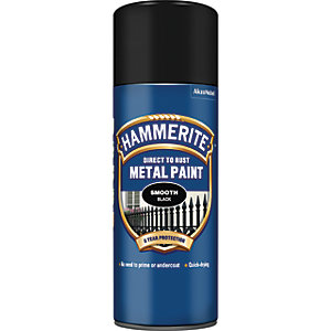 Hammerite Metal Aerosol Paint - Smooth Black 400ml