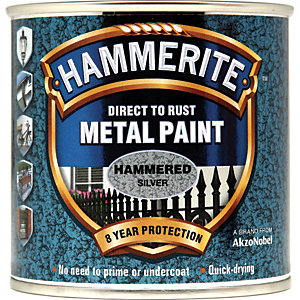 Hammerite Metal Paint - Hammered Silver 250ml