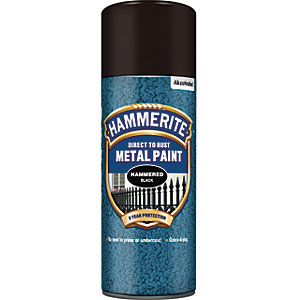 Hammerite Metal Aerosol Paint - Hammered Black 400ml