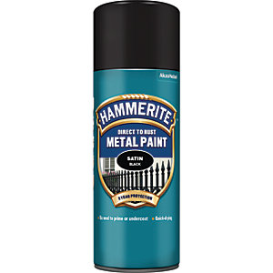 Hammerite Metal Aerosol Paint - Satin Black 400ml