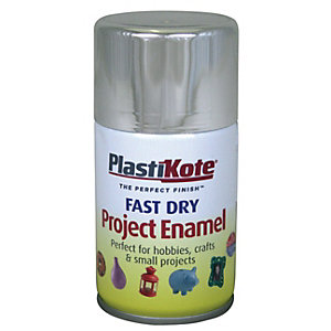Plastikote Fast Dry Enamel Aerosol Spray - Chrome 100ml