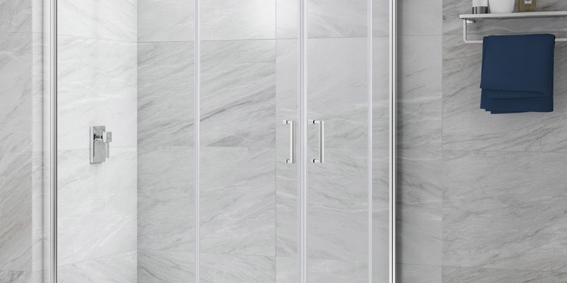 Bi-folding shower doors